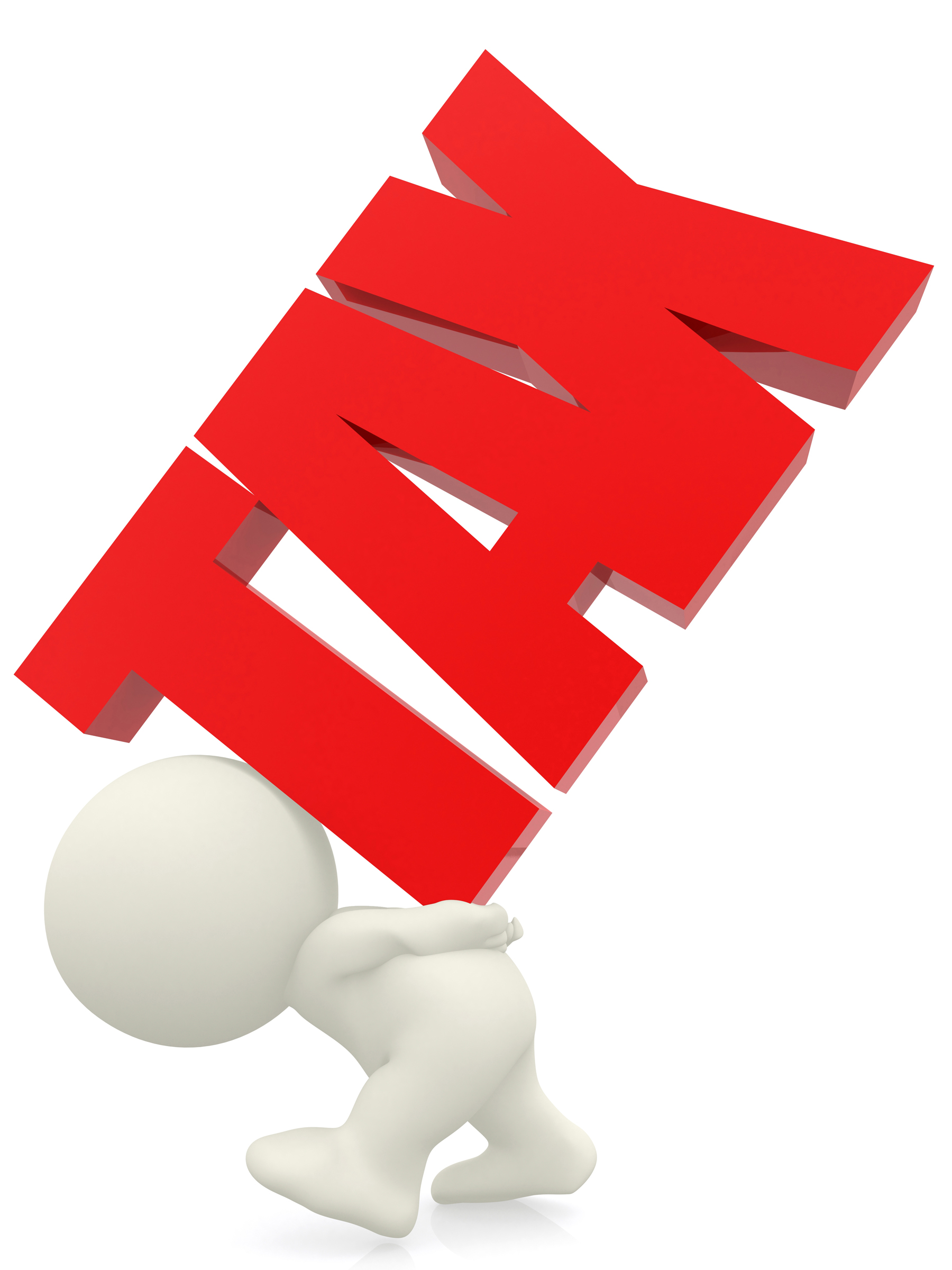 3D person carrying the word tax isolated over a white background